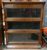 Three door Globe Wernicke style bookcase: Height 113cm, width 87cm and depth 33cm.