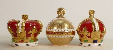 Royal Crown Derby Orb / Crown paperweights x 3: All limited edition with certificates, all 879/