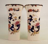 Masons Blue Mandalay pair of large vases: Height 14cm. (2)