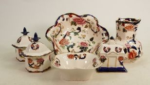 Masons Blue Mandalay items to include: Jug and bowl set, lidded boxes, bowl etc., height of jug