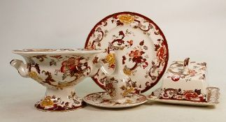 Masons Brown Velvet items to include: Large cheese dish, handled bowl, vase & plates. (5)
