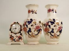 Masons Blue Mandalay items to include: Garniture set, height of vases 25cm. (3)