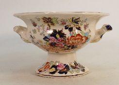 Masons Blue Mandarin handled bowl: Height 15cm.