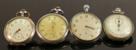 4 gents pocket watches including 2 military & Ingersol Trenton: Includes 2 silver cased watches.
