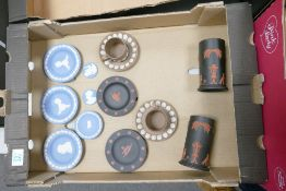 A collection of Multi Coloured Wedgwood Jasperware including: coral on black Egyptian spill