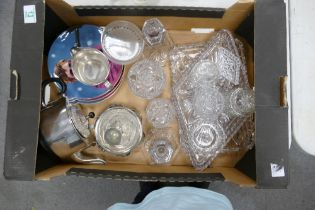 A mixed collection of items to include: Glass Dressing Table items, silver plated items, Elton