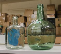 Two Large Decorative Green Glass Bottles: height of tallest 31cm