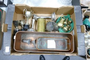 A mixed collection of items to include: Trench Art Tankard, Copper Troughs , brass kitchen