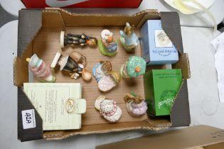 Beswick & Royal Albert Beatrix Pottery figures: Miss Tiggy Winkle washing, Hunca Munca, Peter