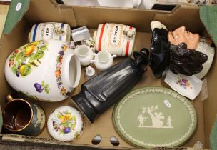 Mixed collection of ceramic items: Wedgwood jasper ware oval plaque, Wedgwood Sandeman decanter,