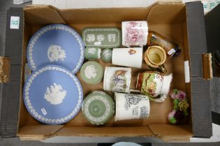 A mixed collection of items to include: Wedgwood Jasperware: Shelley Vase, Commemorative mugs etc