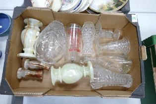A collection of quality glass ware to include: Vases, Horlick mixer , decanter, together with mid