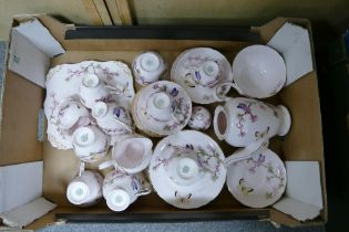 Tuscan China Floral & Buttlerfly Decorated Tea ware: 36 (2 cups damaged)