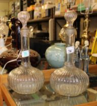 Pair Victorian Hand Blown Glass decanters: height 35cm(2)