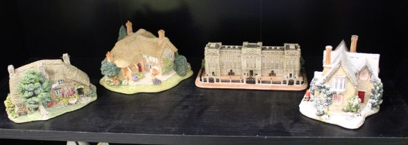 A collection of boxed Lilliput Lane items to include: Christmas Party, Gossip Gate, Old Mother
