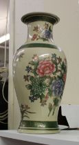 Large Floral Decorated Vase: height 42cm