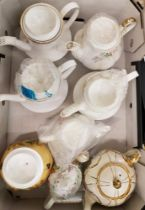 A collection of teapots: 4 x Paragon examples, small Minton Haddon Hall example, Aynsley Orchard