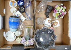 A mixed collection of items to include Shelley vase: commemorative cups, silver plated footed