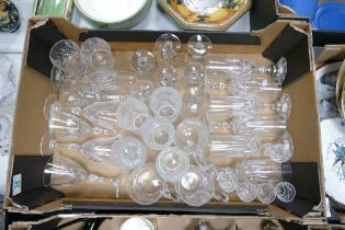A mixed collection of items to include: quality cut glass champagne flutes, tankards, wine glasses