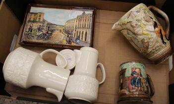 Beswick ceramics: Midsummer Nights Dream jug, collectors mug, Regent Street plaque (a/f), coffee pot