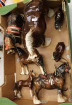 A collection of ceramic horse figures: Beswick 818 in harness (a/f), Melba ware examples etc (1