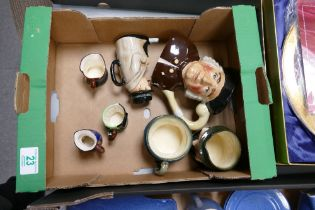 A collection of Royal Doulton & similar character jugs to include: Captain Cuttle, Tony Weller,