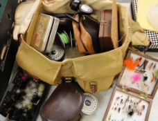 A collection of vintage fly fishing equipment: rods (6), reels, cased flies etc.