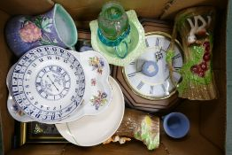 A mixed collection of items to include: Wedgwood Jasper ware, Novelty Vases, wall Clocks etc