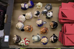 A collection of 18 Kevin Francis Face Pots to include: Monroe, Benny Hill, Uncle Sam, Esmeralda,