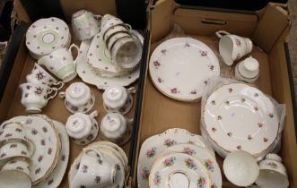 A mixed collection of tea ware items: including Royal Albert Sweet Violets tea cups, floral part tea