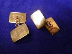 Pair of 9ct yellow gold gents cufflinks, stamped 375, 3.7g