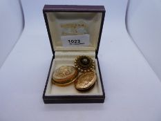 18ct yellow gold floral design cameo brooch, marked 750, unmarked yellow locket and another decorati