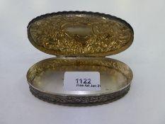 A Victorian silver decorative trinket box with embossed foliate design, Hallmarked Birmingham 1891 H