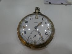 An OMEGA military steel pocket watch