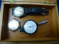 Vintage Smiths stainless steel wristwatch on black leather strap, Bulova example etc in an inlaid bo