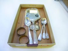 Silver lot comprising of a hand held mirror with engine turned decoration Hallmarked Robert Pringle