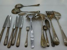 A lot comprising of silver plate and white metal cutlery. To include Gladwin Embassy plate and RAF