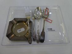 A silver ash tray hallmarked Birmingham 1950 D Bros with two silver forks and two silver teaspoons a