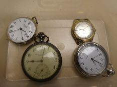 2 Vintage gents wristwatches and 3 pocketwatches incl. Hamilton and Inches and Sekonda examples