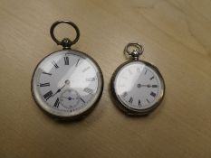 Vintage continental silver pocket watch, marked 800 together with a ladies Swiss pocket watch with a