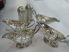 Silver lot comprising of four Victorian matching cruet set, hallmarked Sheffield, 1885 Charles Edwar