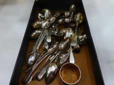 Quantity of various silver and possibly white metal cutlery to incl. spoons tongs, forks etc gross w