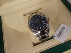 Boxed as new Rolex Datejust 41, model 126300, stainless steel Oyster bracelet with blue face, unworn
