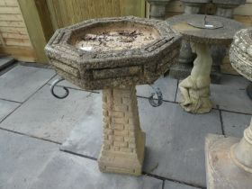 Stone effect octagonal bird bath