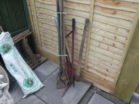 Vintage wooden handled garden tools