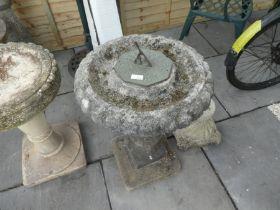 Stone effect sundial/birdbath