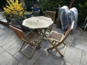 Garden octagonal teak table and 3 chairs