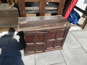 Glazed wooden two door bookcase and a 2 door sideboard