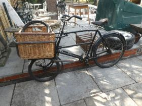 1920/1930 butchers bike with front basket, light and brooks seat complete with original dynamo