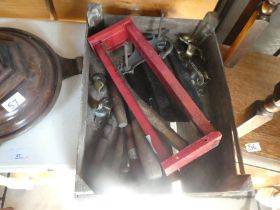 Small wooden crate of wooden handled furniture etc